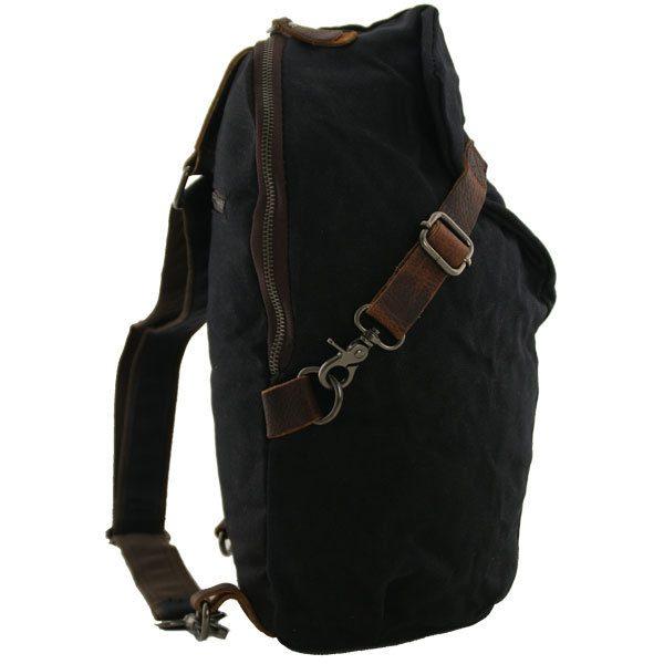 Canvas crossbody tas met leer Austin zwart