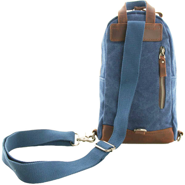 Luanzo mini rugzak canvas crossbody tas Dallas blauw