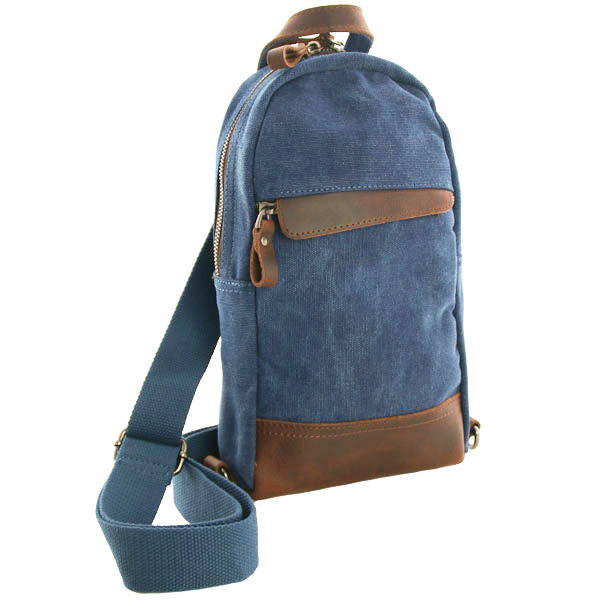 Luanzo canvas crossbody tas met leer Dallas blauw