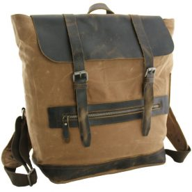 Luanzo canvas laptop rugzak met leer Baltimore khaki