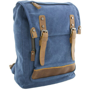 Luanzo canvas laptop rugzak met leer Houston blauw