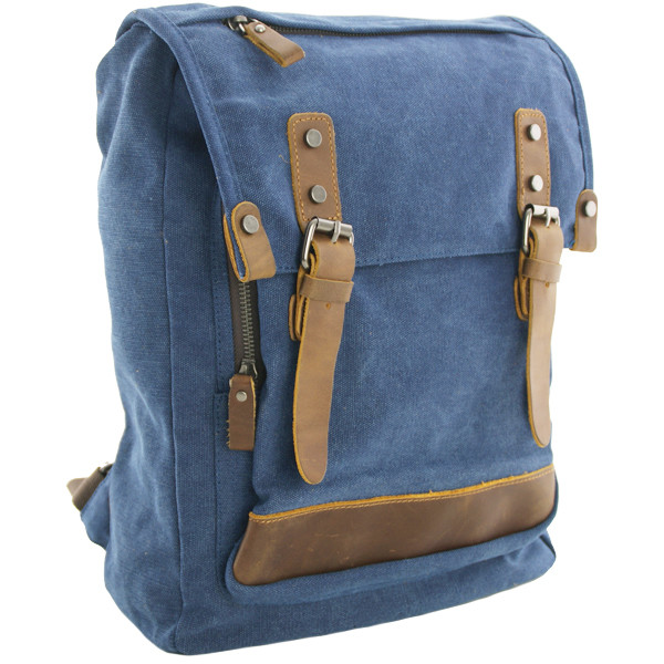 Schoudertas Blauw Leer : Luanzo canvas laptop rugzak met leer houston blauw