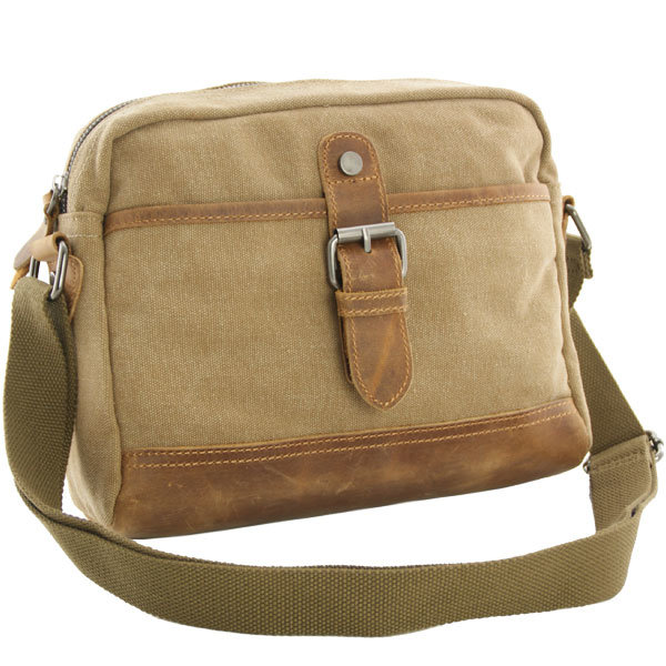 Luanzo canvas schoudertas met leer Washington khaki